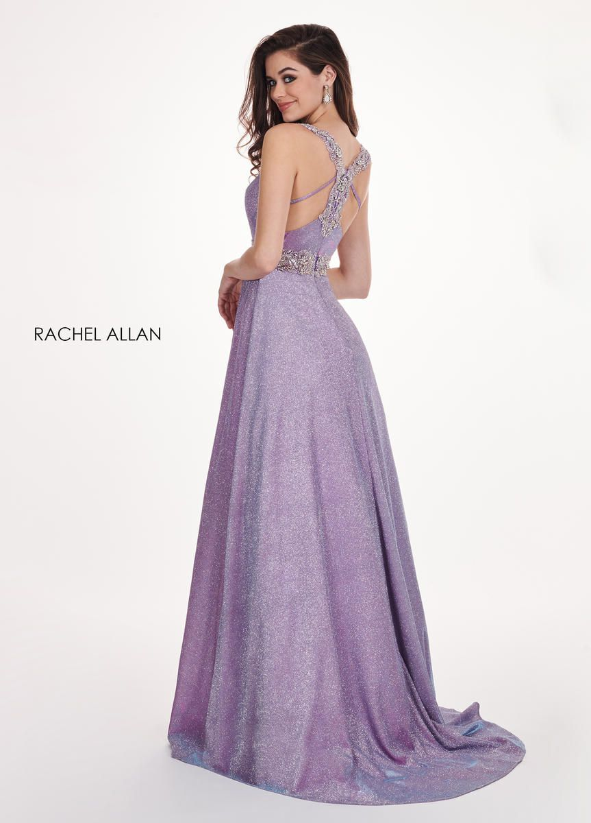 Style 6547 Rachel Allan Purple Size 12 Prom Pageant Tulle Tall Height Shiny A-line Dress on Queenly