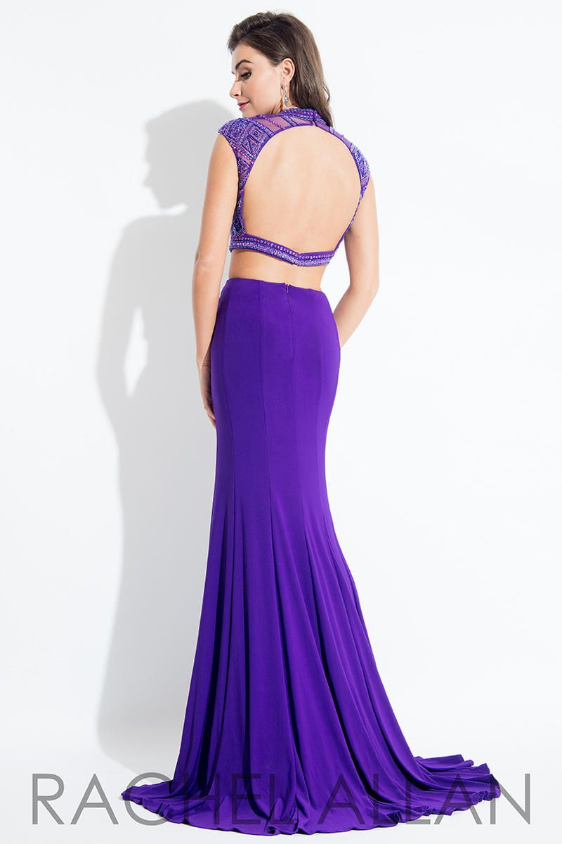 Style 2076 Rachel Allan Purple Size 4 Prom Pageant Beaded Top Tall Height Mermaid Dress on Queenly