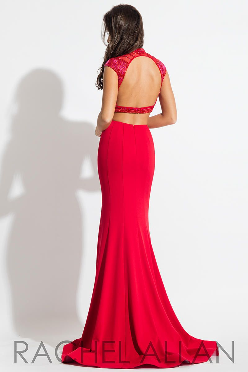 Style 2076 Rachel Allan Red Size 4 Prom Backless Pageant Tall Height Mermaid Dress on Queenly