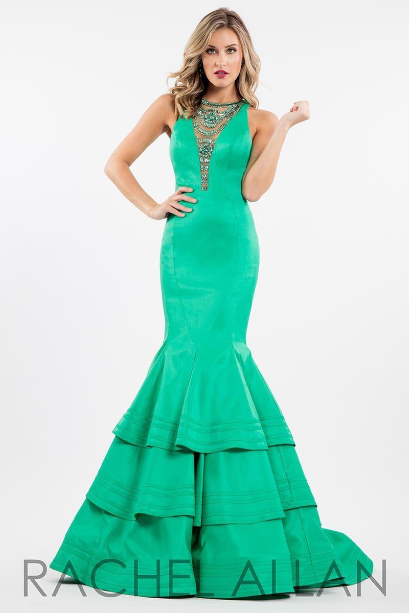 Style 7582 Rachel Allan Green Size 10 Ruffles Silk Tall Height Mermaid Dress on Queenly