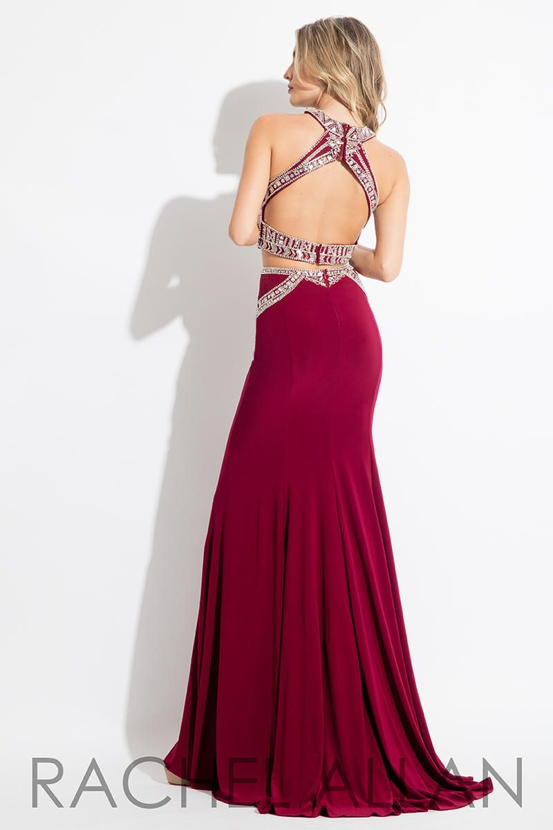 Style 7569 Rachel Allan Red Size 4 Tall Height Halter Mermaid Dress on Queenly