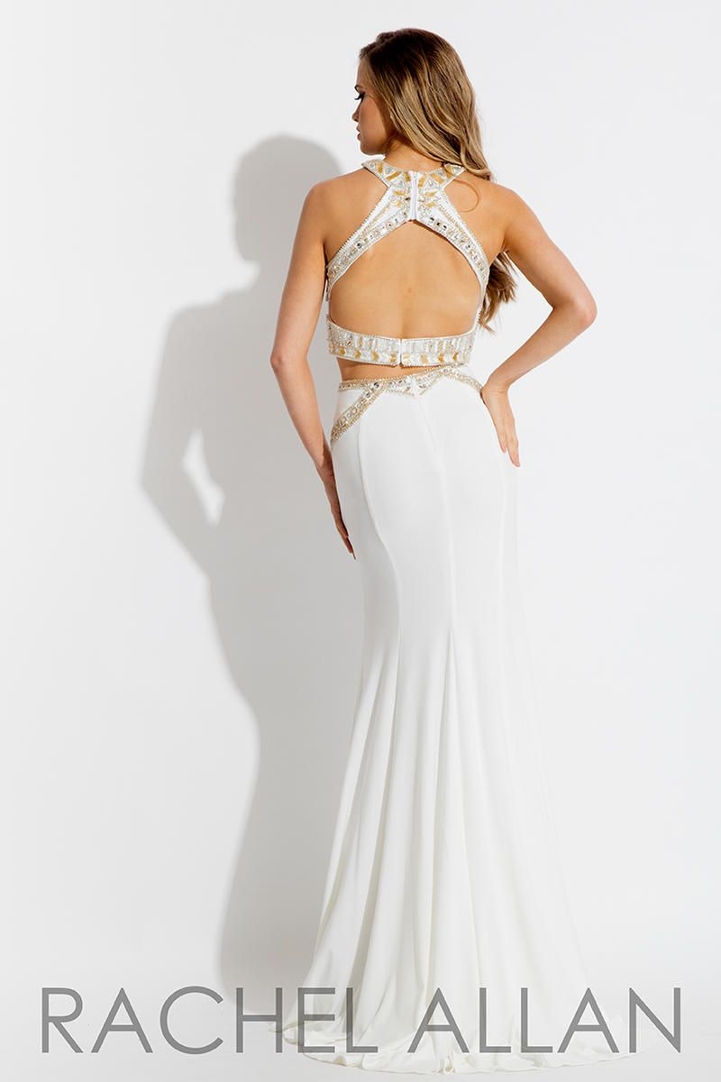 Style 7569 Rachel Allan White Size 4 Tall Height Halter Mermaid Dress on Queenly