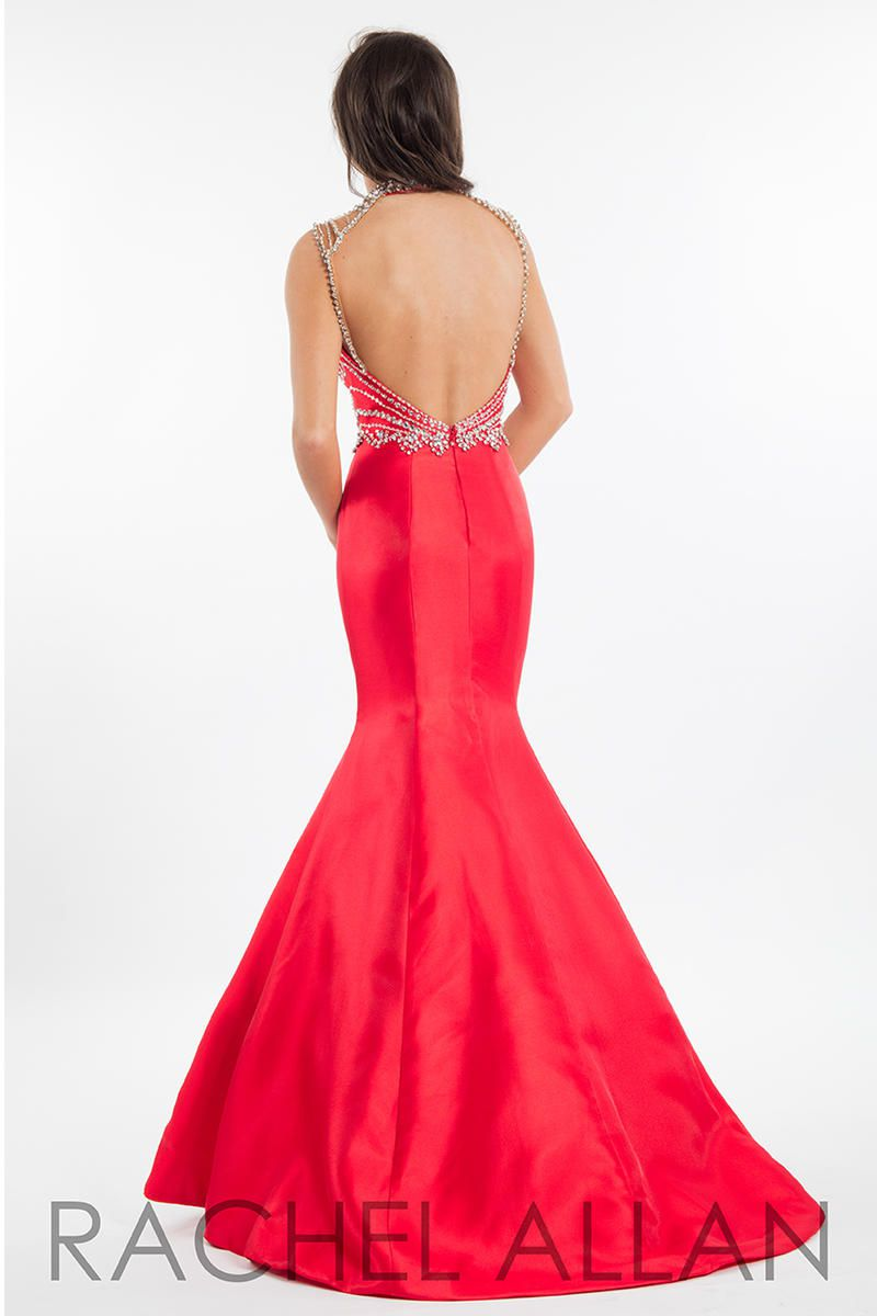 Style 7526 Rachel Allan Red Size 14 Sheer Tall Height Halter Mermaid Dress on Queenly