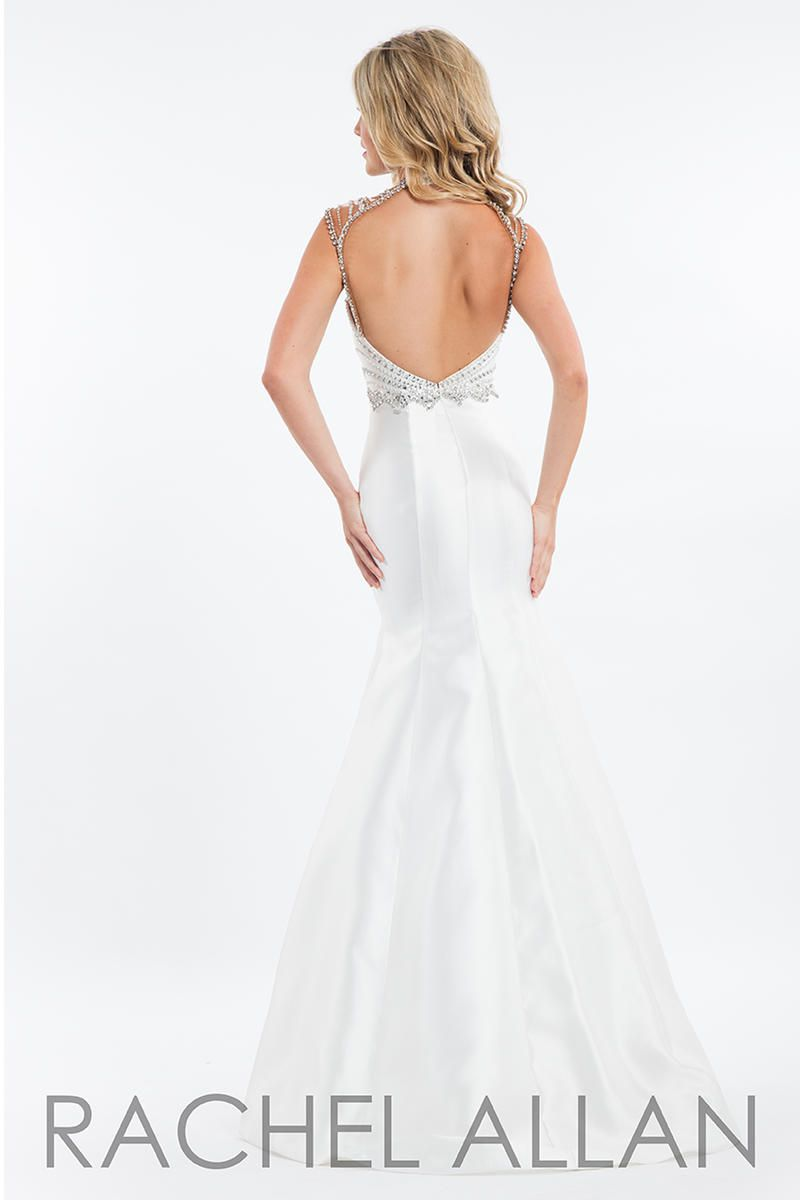 Style 7526 Rachel Allan White Size 2 Sheer Tall Height Halter Mermaid Dress on Queenly