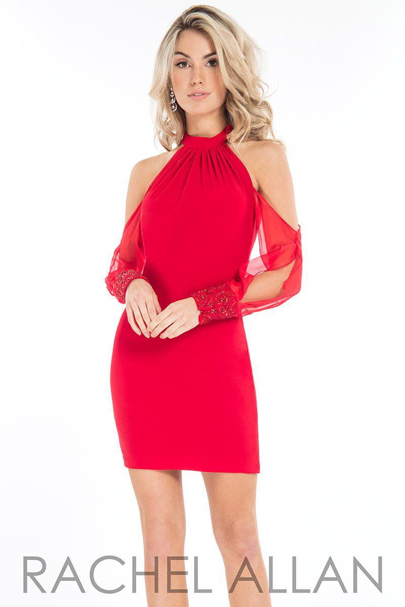 Style L1118 Rachel Allan Red Size 4 Interview Jersey Tall Height Cocktail Dress on Queenly