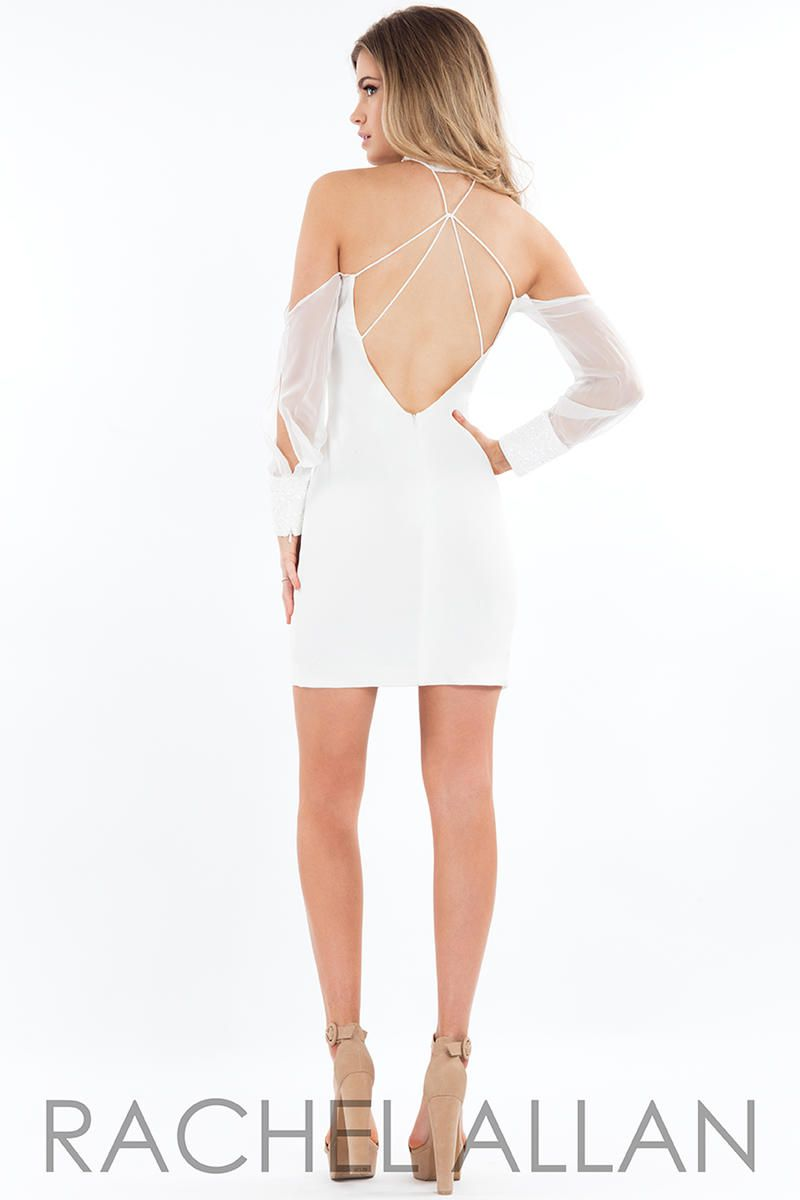 Style L1118 Rachel Allan White Size 4 Interview Jersey Tall Height Cocktail Dress on Queenly