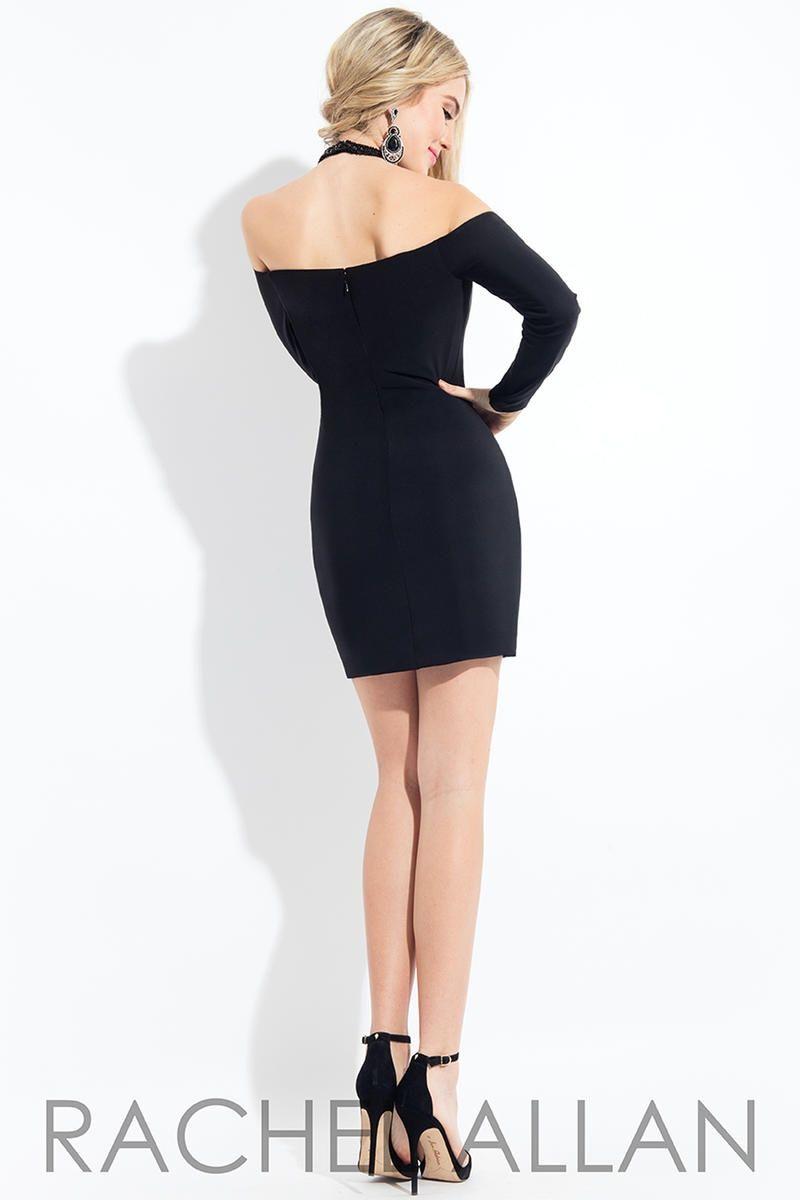 Style L1092 Rachel Allan Black Size 4 Prom Long Sleeve Mini Jersey Cocktail Dress on Queenly