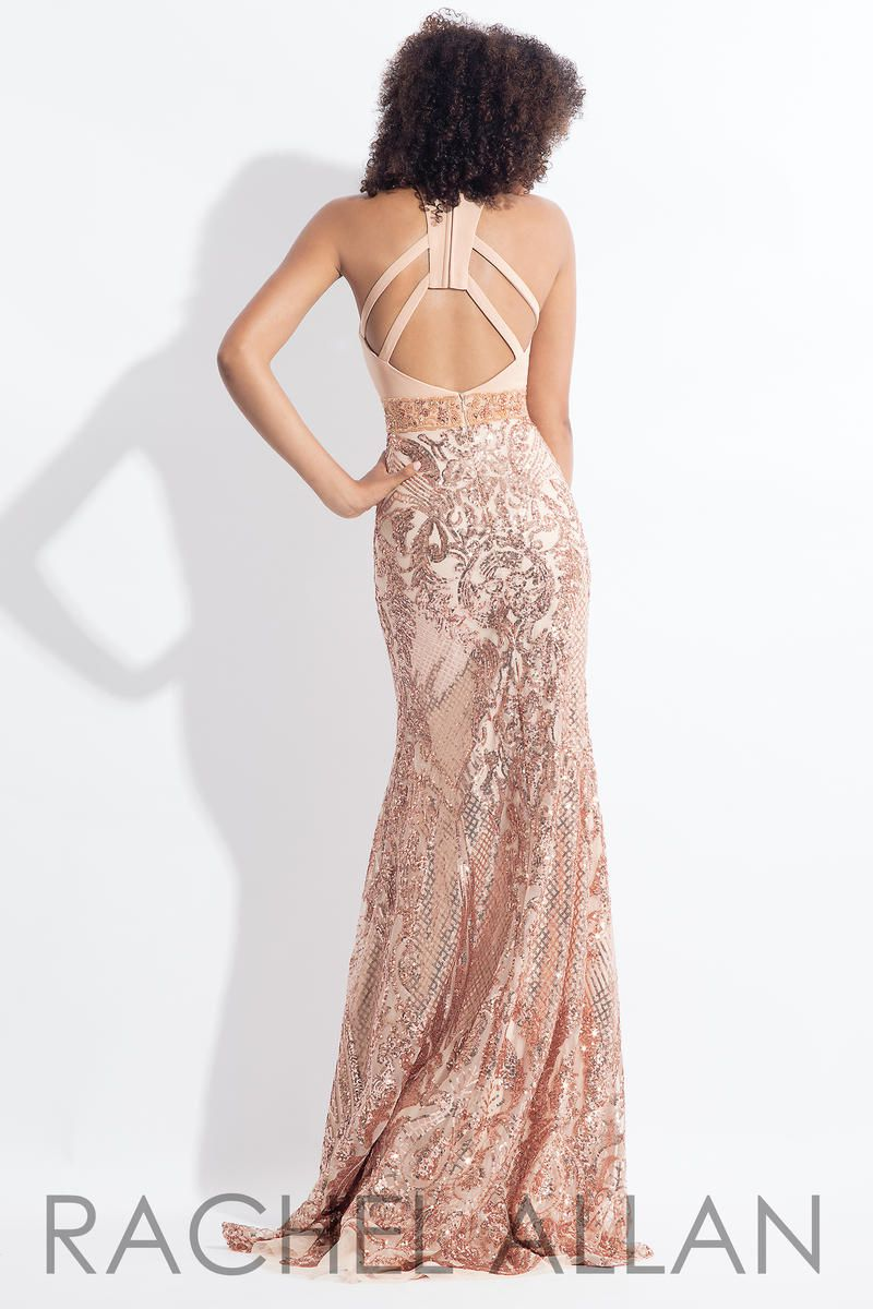 Style 6190 Rachel Allan Gold Size 4 Jersey Shiny Tall Height Sequin Mermaid Dress on Queenly