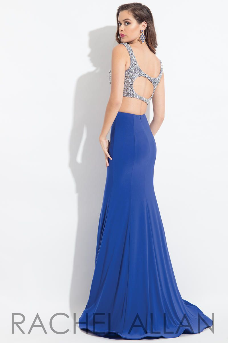 Style 6171 Rachel Allan Bue Size 10 Royal Blue Pageant Keyhole Tall Height Mermaid Dress on Queenly