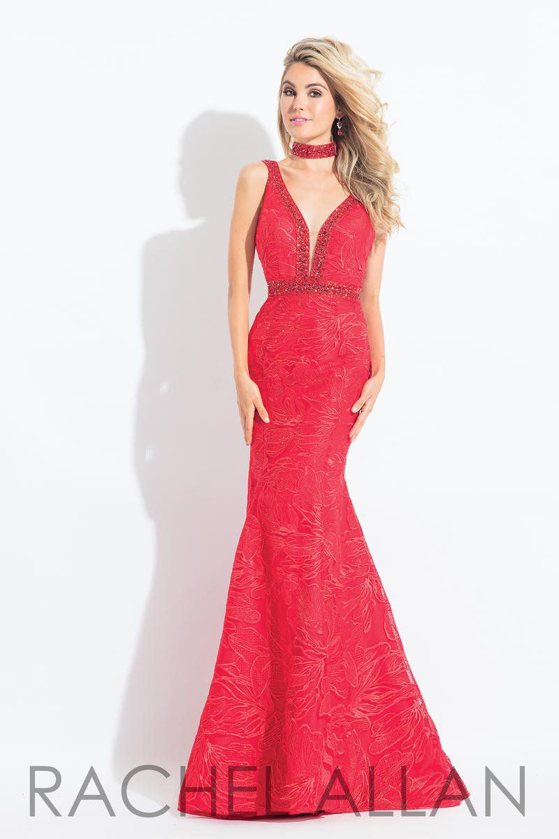 Style 6106 Rachel Allan Red Size 16 Tall Height Plunge Mermaid Dress on Queenly