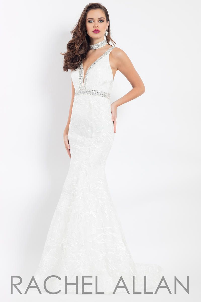 Style 6106 Rachel Allan White Size 2 V Neck Tall Height Plunge Mermaid Dress on Queenly