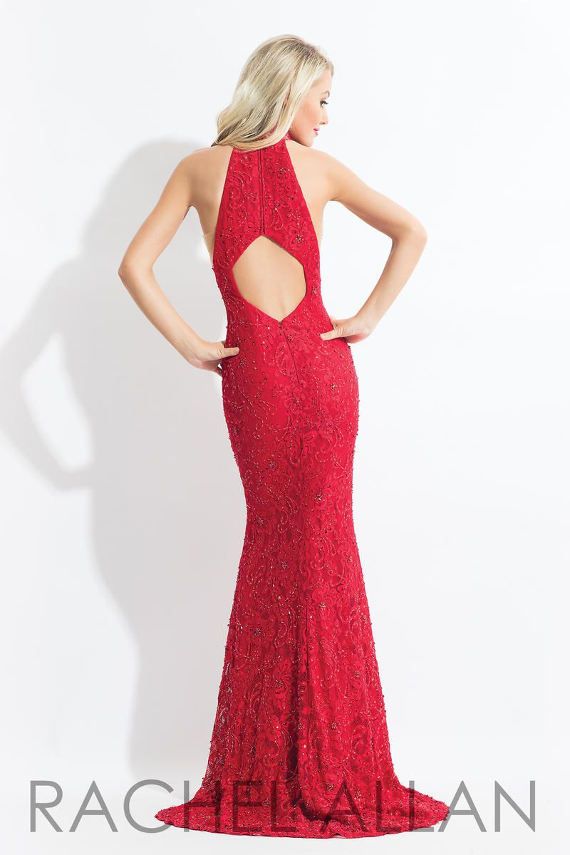 Style 6067 Rachel Allan Red Size 6 Keyhole Tall Height Tulle Halter Mermaid Dress on Queenly