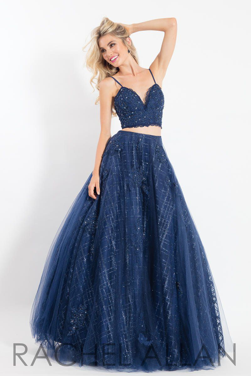Style 6049 Rachel Allan Blue Size 16 Plus Size V Neck Pageant Sweetheart Shiny Ball gown on Queenly