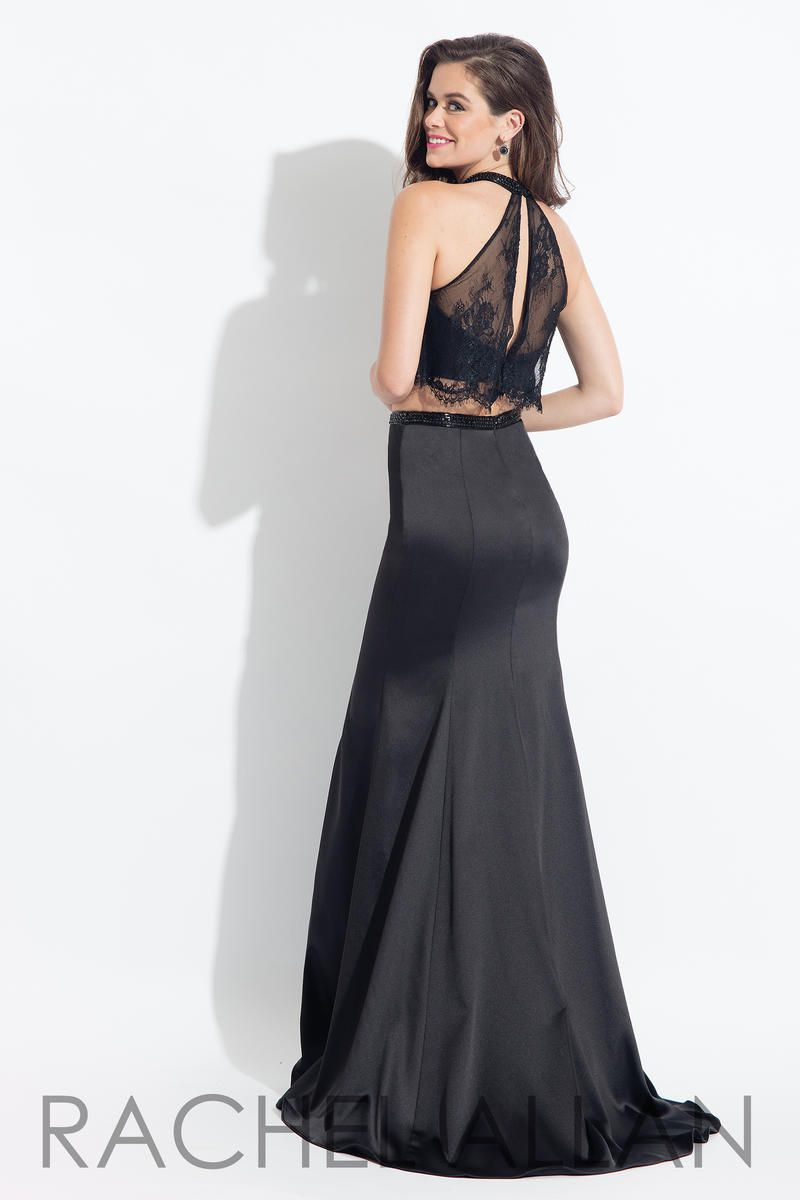 Style 6023 Rachel Allan Black Size 4 Prom Pageant Silk Tall Height Mermaid Dress on Queenly