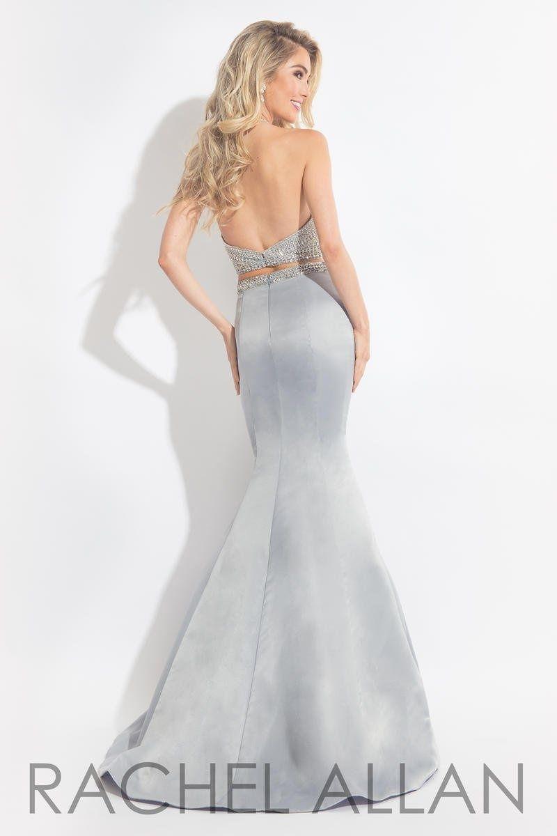 Style 6013 Rachel Allan Silver Size 2 Halter Silk Tall Height Mermaid Dress on Queenly
