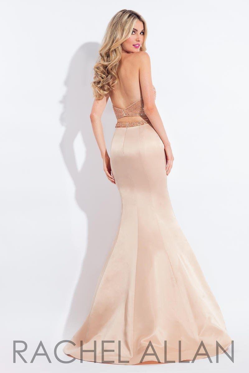 Style 6013 Rachel Allan Gold Size 10 Silk Halter Tall Height Mermaid Dress on Queenly