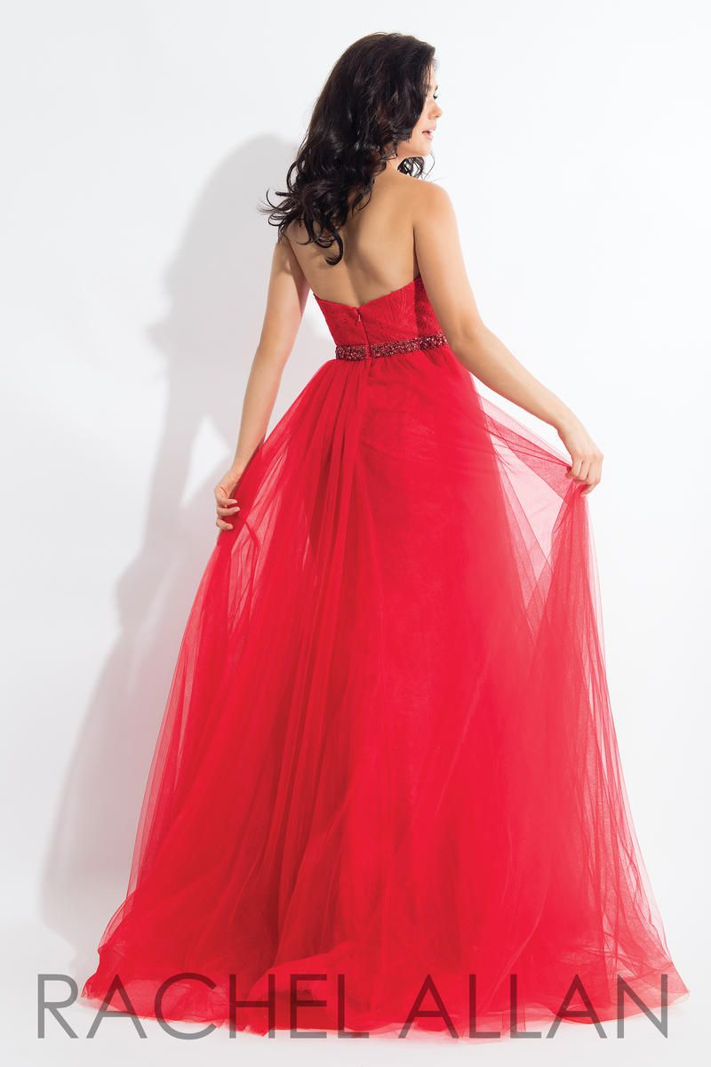 Style 6004 Rachel Allan Red Size 14 Pageant Tulle Sweetheart Tall Height Overskirt Ball gown on Queenly