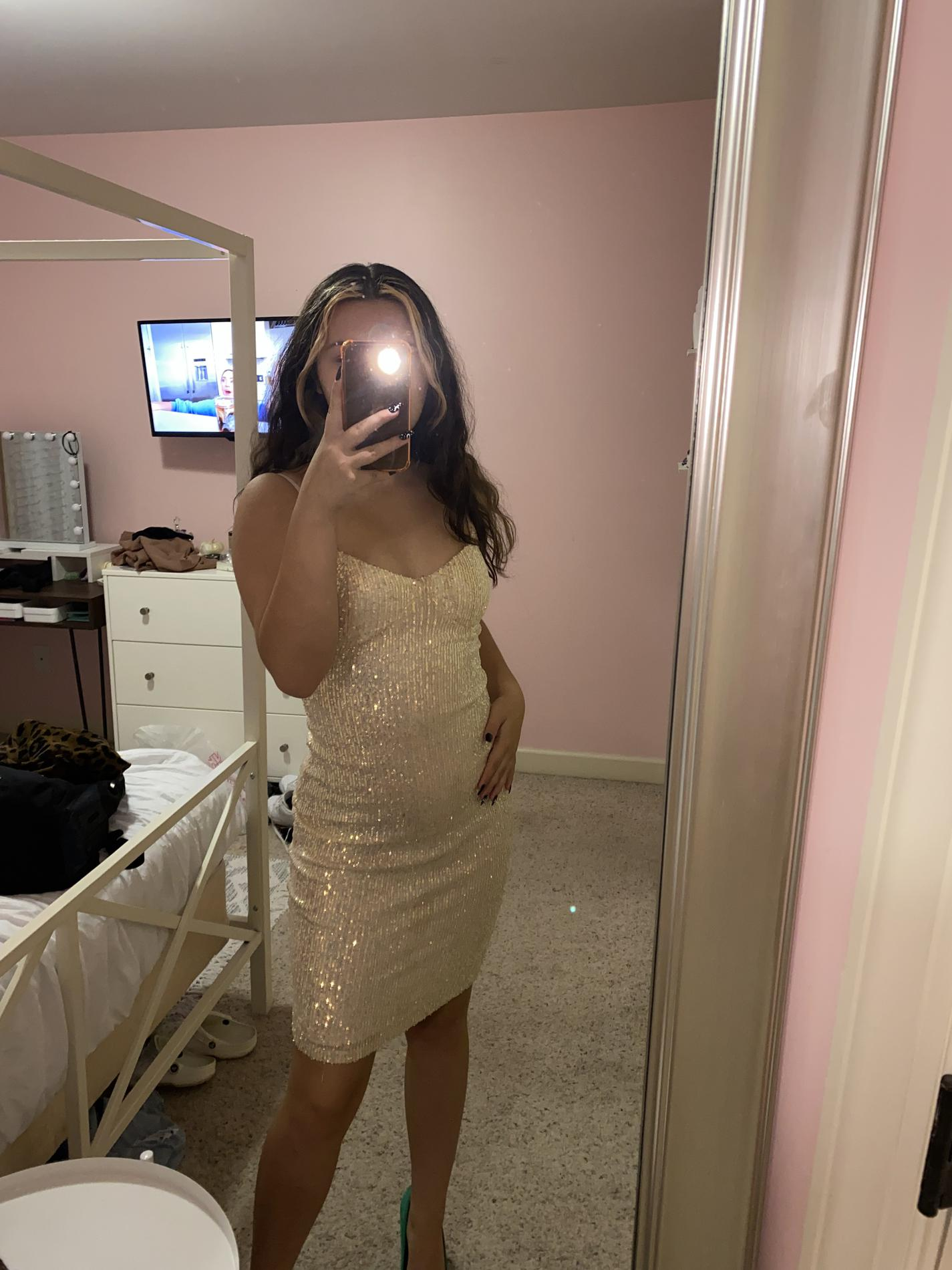 Windsor Multicolor Size 4 Gold Cocktail Dress on Queenly