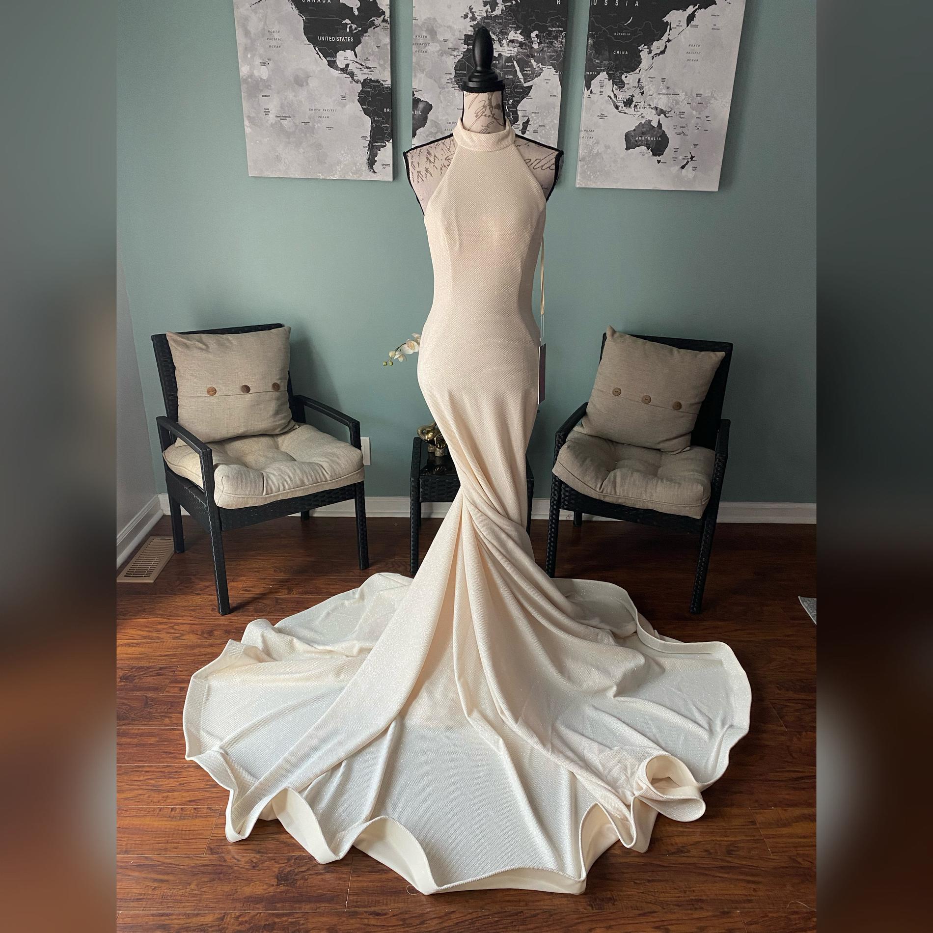 Jovani White Size 8 Train Pageant Wedding Halter Mermaid Dress on Queenly