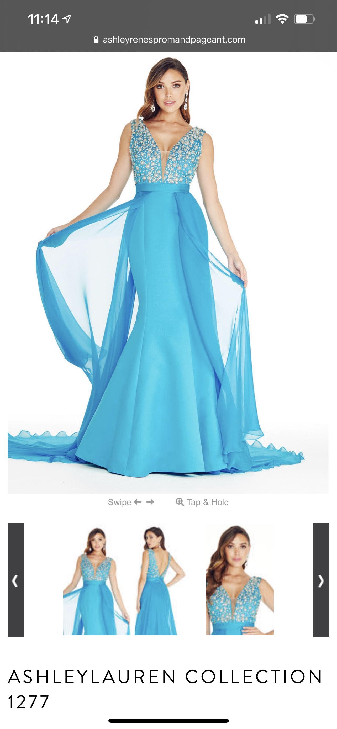 Ashley Lauren style 1277 Blue Size 2 Prom Pageant Cape Mermaid Dress on Queenly