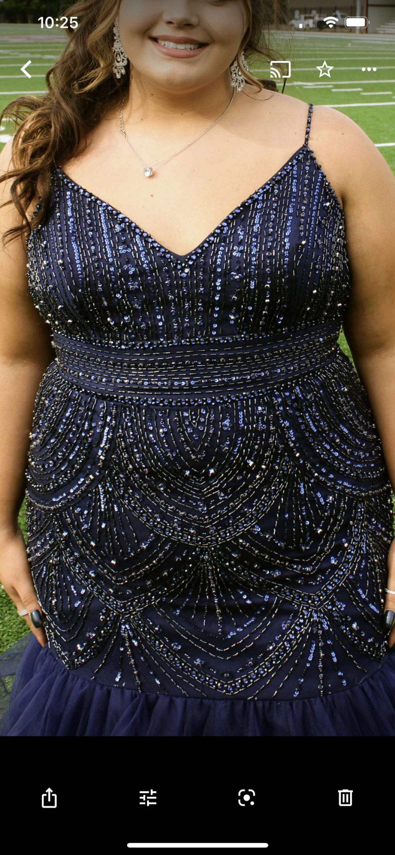 envious Blue Size 22 Pageant Prom Beaded Top Ruffles Mermaid Dress on Queenly