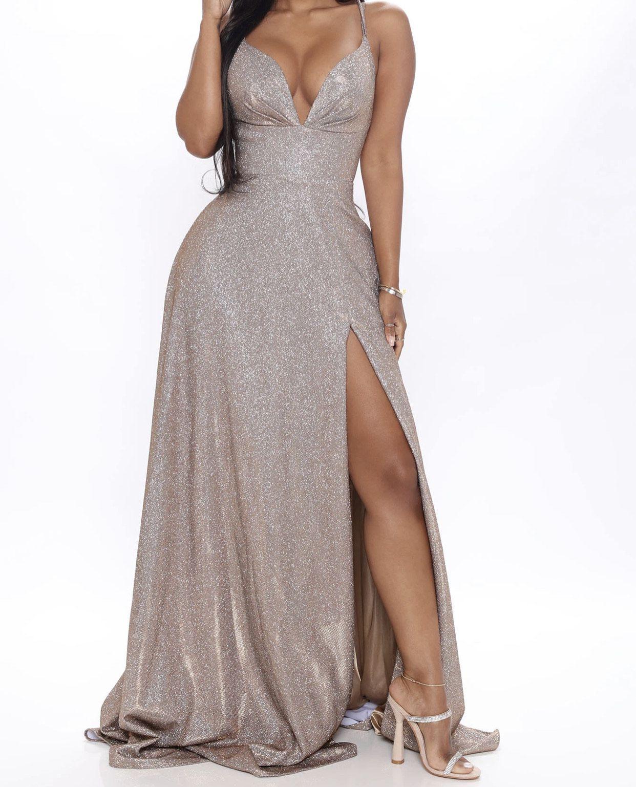 Gold Size 2 Side slit Dress on Queenly