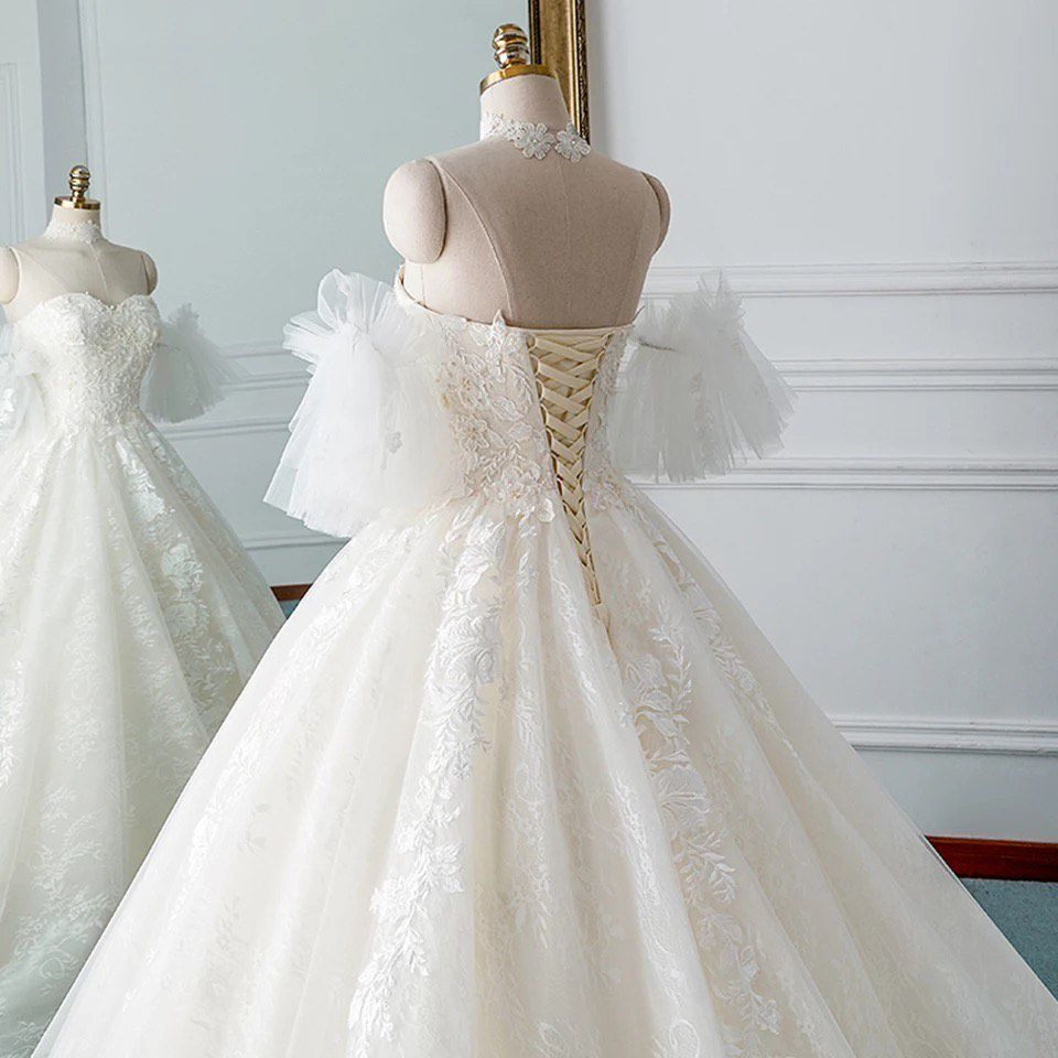 D&V White Size 12 Train Ball gown on Queenly