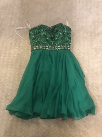 Sherri Hill Green Size 0 Sequin A-line Dress on Queenly