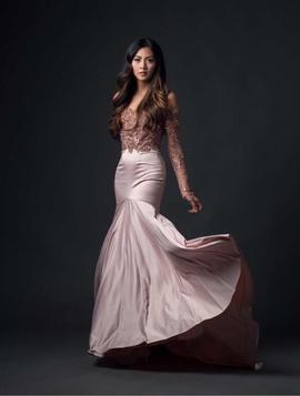 Lou Razon Pink Size 2 Train Pattern Mermaid Dress on Queenly