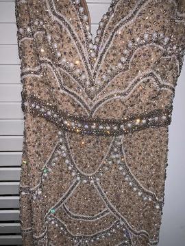 Sherri Hill White Size 2 Sequin Custom Overskirt Straight Dress on Queenly