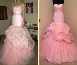Gaspar Cruz Crown Couture Pink Size 4 Strapless Train Mermaid Dress on Queenly