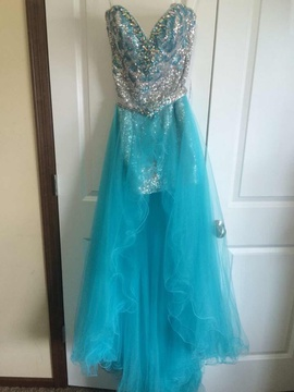 Queenly size 2 Mac Duggal Silver Cocktail evening gown/formal dress