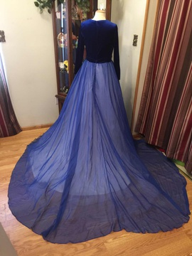 Custom Blue Size 14 Train Sleeves Ball gown on Queenly
