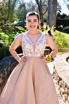 Queenly size 6  Gold Ball gown evening gown/formal dress