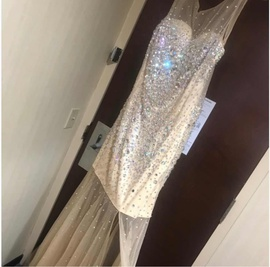 Anny Lee  Gold Size 18 Jewelled Sheer Sequin Side slit Dress on Queenly