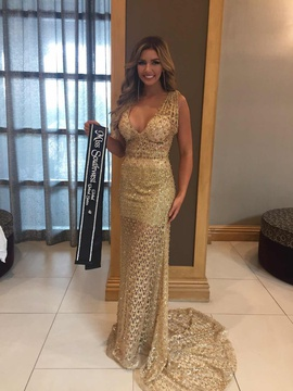 Custom Gold Size 4 Train Plunge Shiny A-line Dress on Queenly