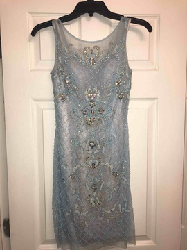 Sherri Hill Blue Size 0 Jewelled Sequin Cocktail Dress on Queenly