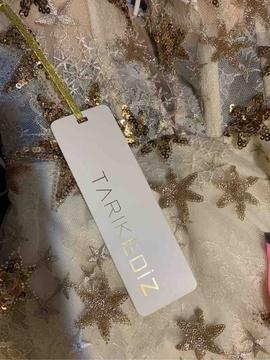 Tarik Ediz Gold Size 2 Train Overskirt A-line Dress on Queenly