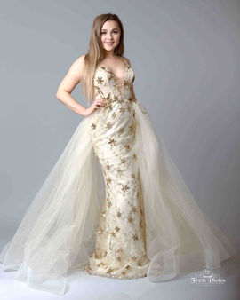 Queenly size 2 Tarik Ediz Gold A-line evening gown/formal dress