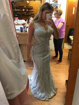 Jovani Silver Size 8 Prom Sequin Mermaid Dress on Queenly