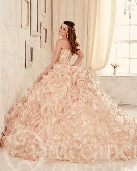 Mori Lee Gold Size 4 Beaded Ball gown on Queenly