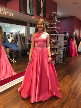 Sherri Hill Pink Size 4 Halter Pageant A-line Dress on Queenly