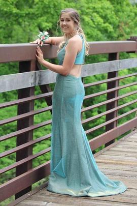 Sherri Hill Blue Size 4 Halter Side slit Dress on Queenly