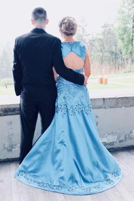 Rachel Allan Blue Size 6 Jewelled A-line Dress on Queenly