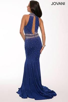 Jovani Blue Size 8 Halter Plunge Mermaid Dress on Queenly