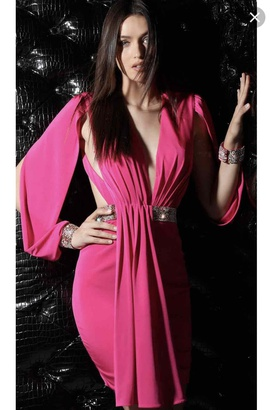 Jovani Pink Size 2 Party Plunge Interview Cocktail Dress on Queenly