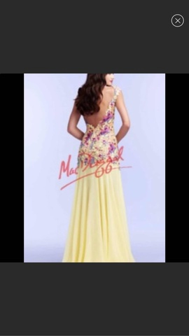 Mac Duggal Yellow Size 8 Prom Floral A-line Dress on Queenly