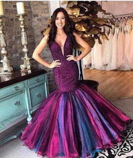 Sherri Hill Purple Size 10 Plunge Sequin Mermaid Dress on Queenly