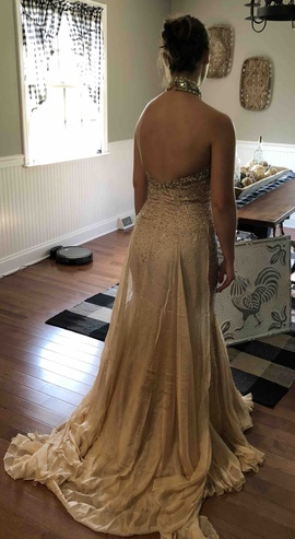 Johnathan Kayne Gold Size 8 Beaded Mermaid Dress on Queenly