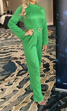 Queenly size 4 Custom Green Romper/Jumpsuit evening gown/formal dress
